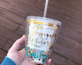 Personalized Monogram Confetti Glitter Tumbler Happy Birthday Cup