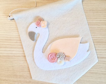 READY TO SHIP Nursery banner - wall banner - nursery flag - swan nursery - nursery wall - nursery decor - nursery wall Decor - nursery