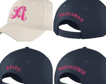 Bridal Party Caps / Hats - personalized with initials and titles - custom - monogram - initials - bridesmaid - maid of honor  bride  wedding