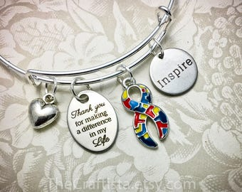 AUT, Autism Teacher Bangle, SPED Teacher's Gift, Autism Awareness, PPCD Teacher, Autism Bangle, Autism Teacher, Teacher Gifts, Autism Charm