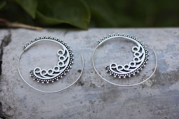 TRIBAL SPIRAL EARRINGS - Statement Silver Earrings - Tribal Twist Earrings - Sacred Geometry Earrings - Ethnic Jewellery - Sale - Gift