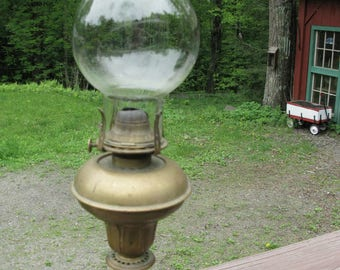 Antique Whale Oil Lamp with Original Glass Chimney