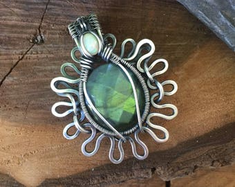 Labradorite and Opal Pendant - Wire Wrapped Pendant - Heady Wire Wrap - Flower Pendant - Labradorite Wire Wrap - Statement Jewelry