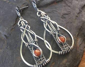 On Sale Sunstone Earrings - Sterling Silver Earrings - Wire Wrap Earrings - Dangle Earrings - Gemstone Earrings - Unique Gift - Heady Wire W