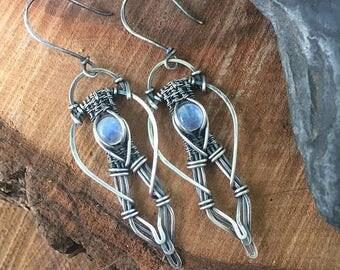 On Sale Moonstone Earrings - Sterling Silver Earrings - Wire Wrap Earrings - Dangle Earrings - Bridal Jewelry - Gemstone Earrings - Unique G