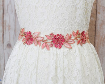 Fuchsia and Pink Embroidery Flower Lace Sash ,Hot pink Bridal Sash, Bridesmaid Sash, Flower Girl Sash