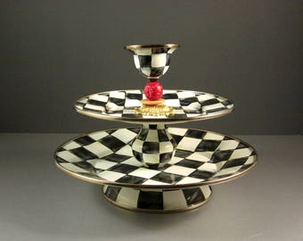 Mackenzie Childs Courtly Check Enamel Two Tier  Server Sweet Stand with Pick Cup