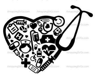 Medical Collage Stethoscope svg Medica Decal svg Nurse RN LPN Medical Assistant Medical Secretary Nursing Assistant svg Stethoscope heart