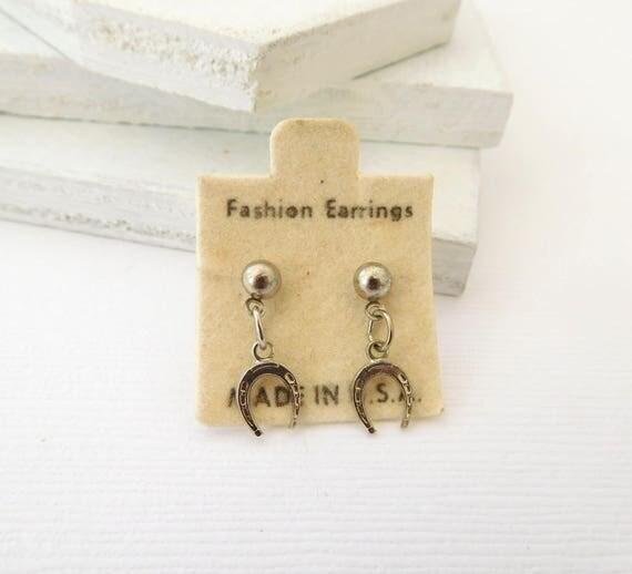 Vintage Small Silver Lucky Horseshoe Dangle Southwestern Cowgirl Earrings CC9