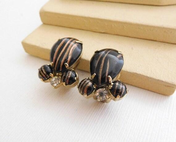 Vintage Black Copper Gold Venetian Glass Rhinestone Clip On Earrings C4