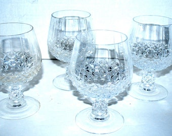 Crystal brandy snifters  set of 4 Longchamp pattern  vintage barware