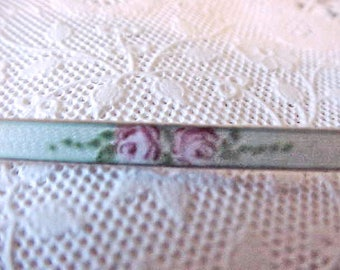 Beautiful and Dainty Art Nouveau Era Sterling Silver Bar Pin with Guilloche Enamel and Hand Painted Roses