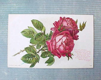 Lovely Edwardian Era Postcard with Red Roses Outlined in Metallic Gold