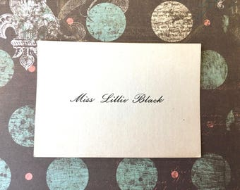"Sweet Victorian Calling Card ""Miss Lillie Black"""