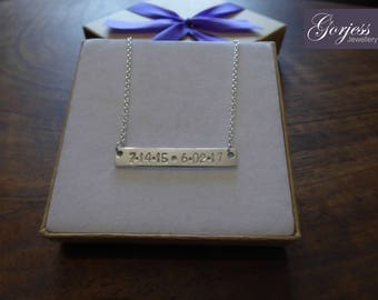 Silver Personalised Bar Pendant Necklace with Dates