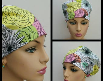 Mini - Chemo Cap - Nurses Hat - European Style - Here Comes the Fun Bloom Montage Light - 100% cotton