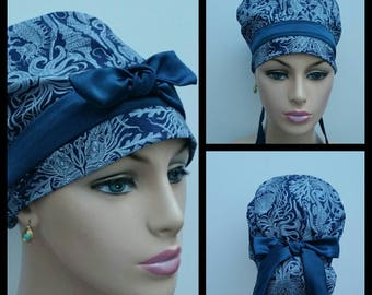 Handmade Woman Medical Scrub Hat/OR Hat/Nurses Hat -Ocean Oasis - Underwater Fossils - Navy Blue - 100 % cotton