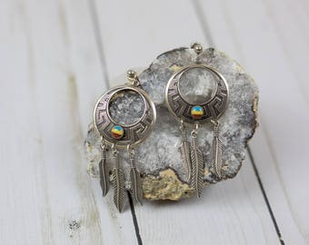 Vintage Native American Western Boho Sterling Silver Dream Catcher Earrings