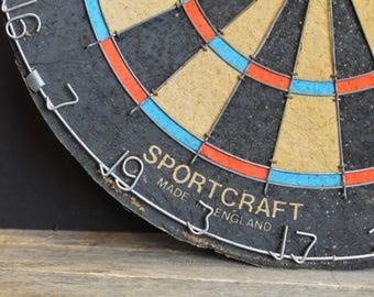 Vintage Sportcraft Taverner Pub Dart Board // Sprots Bar Dart Board // Metal Trim // Made In England // Inspected 1987