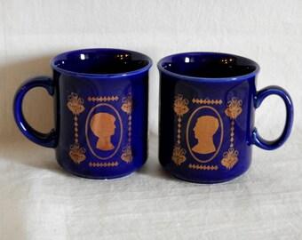 2 Princess Diana-Prince Charles Cobalt Blue-Gilt Silhouette Commemorative 1981 Wedding Mugs