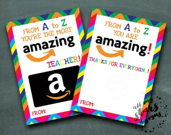 Amazon Gift Card Holder | From A to Z You're The Most AMAZing Teacher! | From A to Z You Are AMAZing!  |  Teacher Appreciation |  Thank You