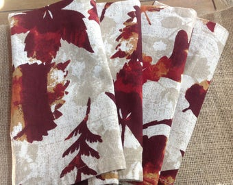 Set of Four Fall Cloth Napkins with Pretty Burgundy and Golden Orange a Beige and Cream Abstract background.