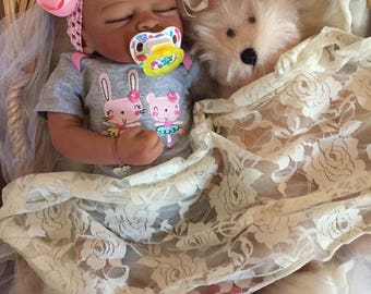 Completed Bi Racial Lainey Completed Reborn Baby Doll from the Aisha 20 inch kit