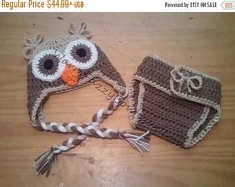 SUMMER SALE Baby Owl Earflaps Hat & Diaper Cover Cafe Buff Brown - Crochet Newborn NB Beanie Boy Girl Costume Halloween  Photo Prop Christ