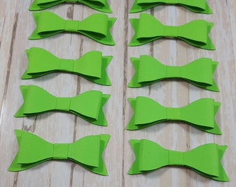 Green Paper Bows & Buttons, Scrapbook bow embellishment,Bow die cut, Card topper paper bows