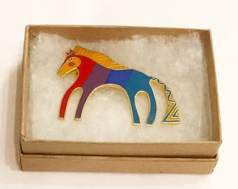 Laurel Burch CABALLO Rainbow Horse Brooch (Vintage Deadstock/ New/ Never been used)