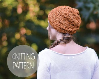 KNITTING PATTERN slouchy hat toque - scattered acorns beanie