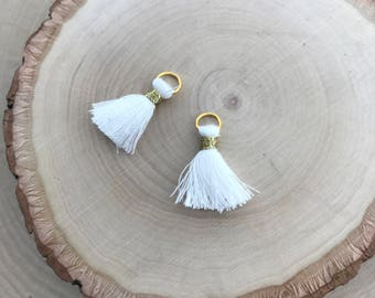 5 pcs Small White Cotton Jewelry Tassel w/ Gold Jump Ring - 20mm Long Tassel Cloth Jewelry Making Supplies