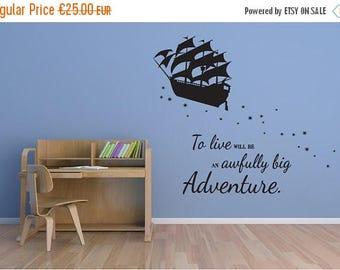 SALE Peter Pan wall decal pirate ship vinyl decal sticker mural children boys and girls adventure K011