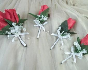Corsages Men Women Red Rosebud White Bows 4 Piece Set