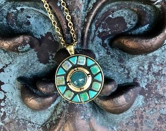 Round Blue Gold Pendant Necklace Mosaic