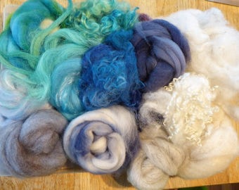 Hope Jacare - Mixed wool pack- custom blended top -  120g hand dyed top and fleece  - MWP02