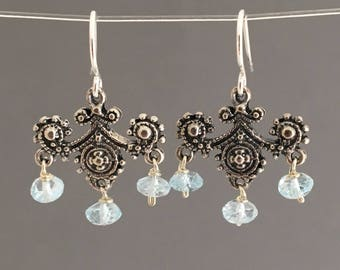 SALE Silver Blue Topaz Chandelier Earrings
