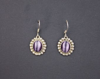 90's Silver EARRINGS Purple Center // Dangly Drop // 925 // Bohi Simple Casual