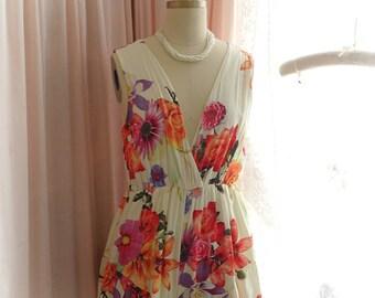 Romantic plunge summer rose floral Women's clothing Fashion ivory cream Romper Playsuit Jumpsuit Boho Bohemian hippie fairy Beach Love Sun