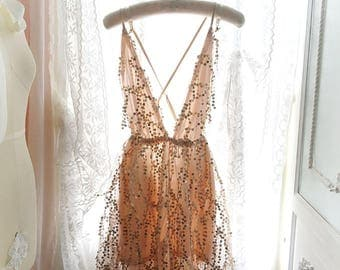 romantic sequins bling bling nude beige party dress boho gysy , romper lining, backless, cocktail party bohemian bling bling