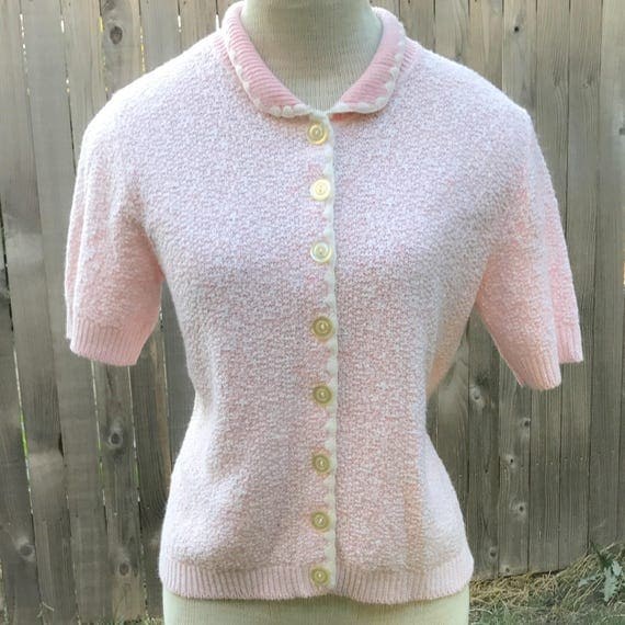 Vintage Soft Pink Short Sleeve Cardigan Sweater with Peter Pan