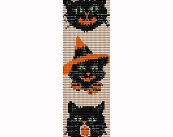 3 Halloween Cats Loom Bead Pattern, Bracelet Cuff, Bookmark, Seed Beading Pattern Miyuki Delica Size 11 Beads - PDF Instant Download