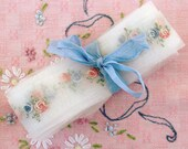 "Vintage Trim, Shabby Chic Roses, Sheer Organdy Trim, Pink Blue White 1 -1/4"" wide"
