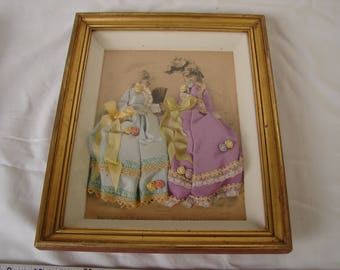Victorian French, Mode,Fashion gravure print,ladies,hand-decorated with fabrics in gilt shadow box .