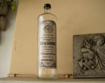 Vintage,1 litre glass bottle with French apothecary drugstore label-Eau de Lavande,lavender water