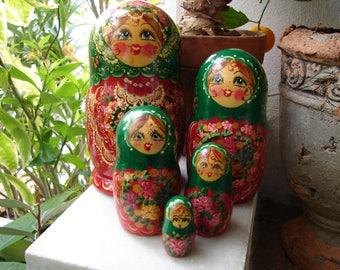 set of 5 handpainted Matryoshka,babushka,Russian nesting dolls, vintage ,gold glitter