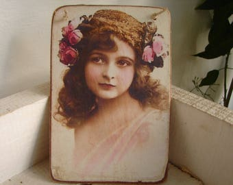 stunning,Victorian roses girl,tinted photo image on shabby chic wooden tag, with string hanger.