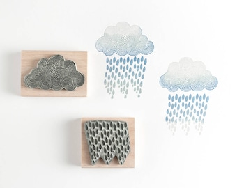 Rainclouds and Rain Rubber Stamps
