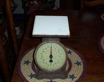 Antique 100+ Year Old Greenish 24 Pound Scale..Prudential Family Scale...Really Cool Piece..Dated Oct 29, 1912..Works Great..Turn of Century