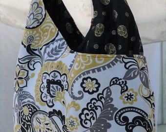 Large Purse, Large Double Shoulder Bag, Vintage Design Purse, Black and Gold Skull Purse, Cross Body Bag, Big Bag, White Black Gold Skulls